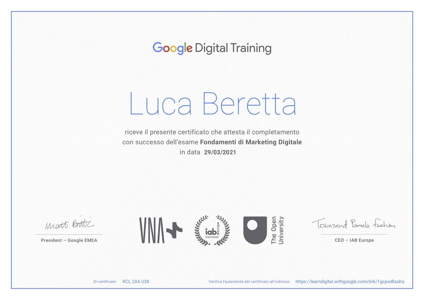 Certificazione Google n° RCL2A6U3X